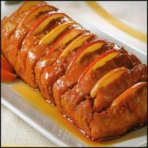 lomo de cerdo en salsa de miel de manzana